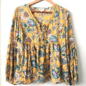 Haute Hippie boho blouse size L yellow